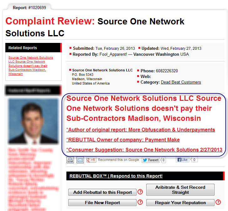 Source One Network Solutions Does not pay
